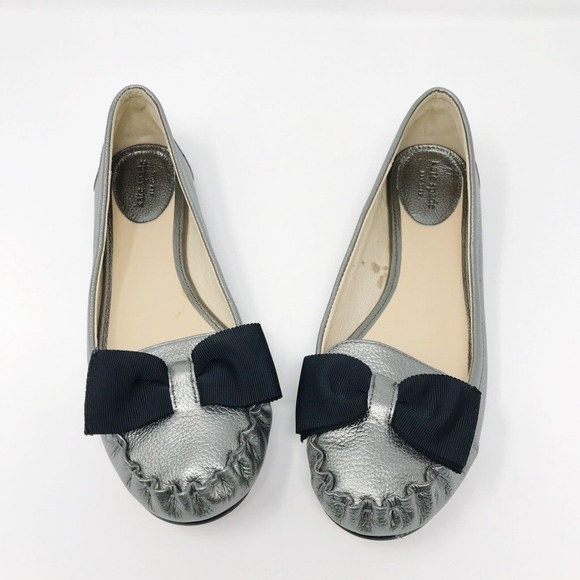 3a6294316660 kate spade Shoes - Kate Spade 7.5 Leather Silver Loafer Bow Flats